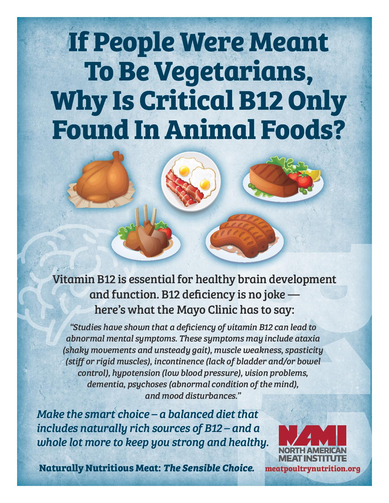 B12 Is Only Found Naturally In Animal Foods